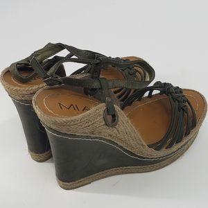 MIA olive green espadrille wedge sandals